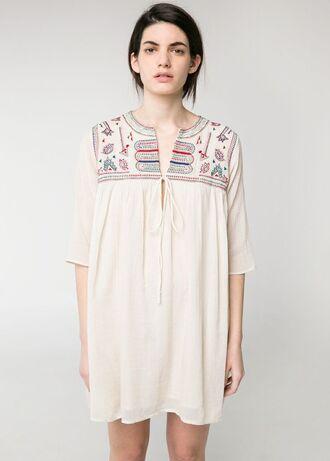 dress mango mango dress beaded embroidered dress beaded embroided off-white off white dress embroided dress