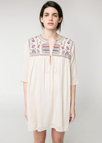 dress mango mango dress beaded embroidered dress beaded embroided off-white off-white dress embroided dress