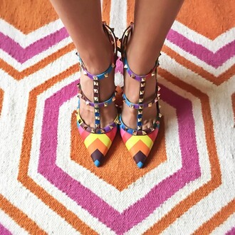 shoes valentino pumps at lvr colorful multicolor rainbow valentino rockstud pumps heels luxury spring outfits spring trendy designer italian shoes italy