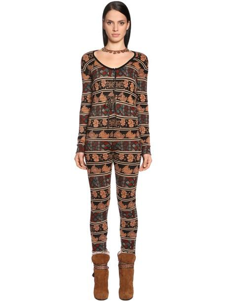 ETRO Wool Blend Knit Jacquard Jumpsuit in brown / beige / beige