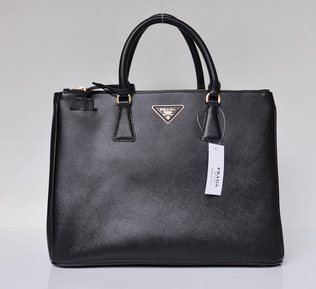 New prada small saffiano lux tote bag black leather sale online