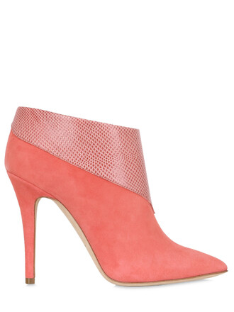 boots ankle boots suede pink shoes