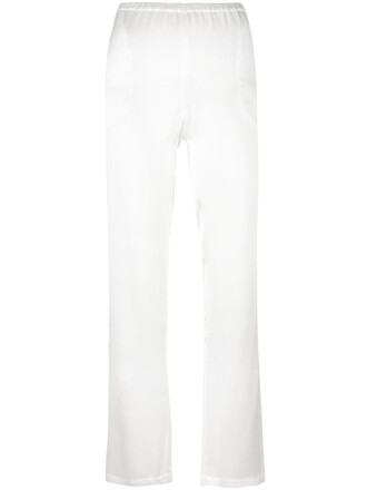 pants women white silk