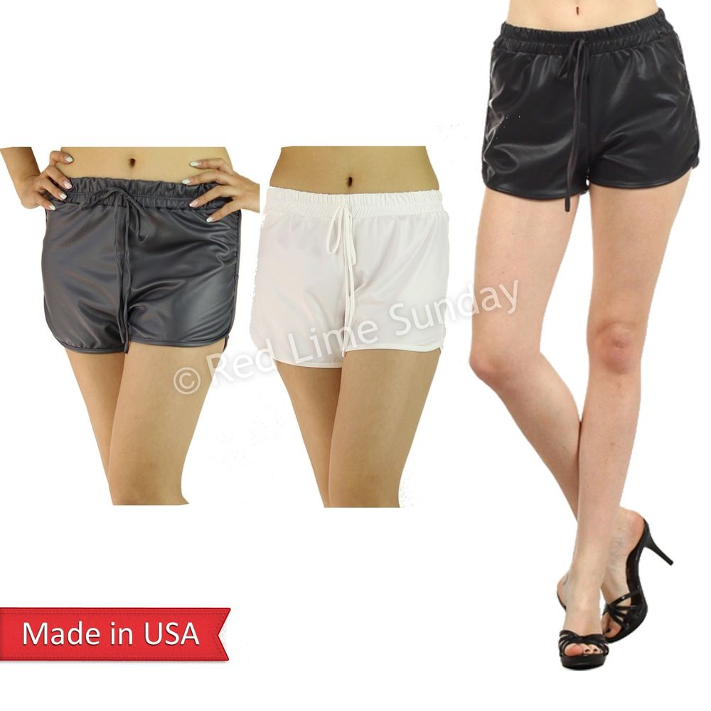 New faux leather black white gray short mini hot pants bottom jogger pockets usa