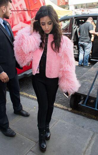 coat jacket pink fur cropped camila cabello fifth harmony