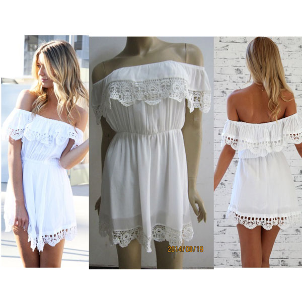 White off the shoulder crochet dress · fe clothing · online store powered by storenvy