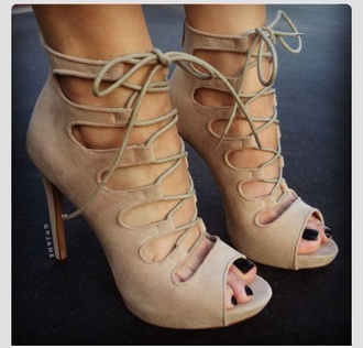 shoes high heels nude heels laced up heels nude lace up heels