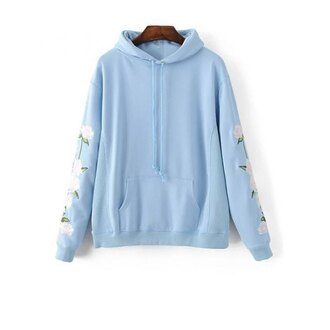 sweater blue fashion style long sleeves light blue floral flowers hoodie trendsgal.com