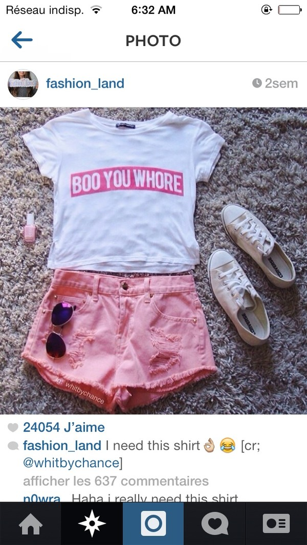shirt boo whore red obey supreme style hipster ootd white pink converse vans pink short short summer summer outfits shorts