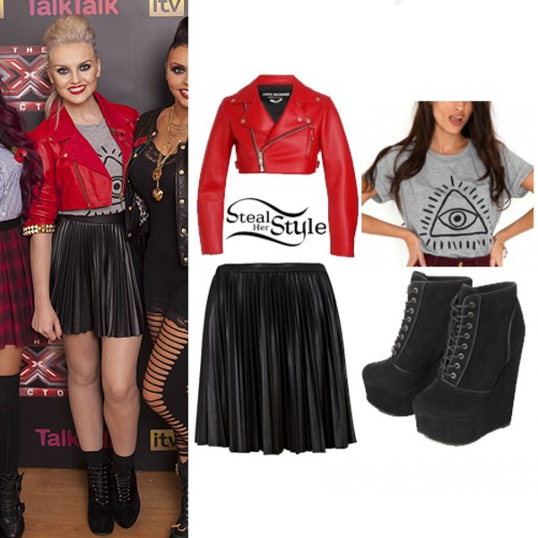 jacket perrie edwards little mix t-shirt skirt