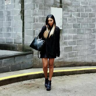 sweater chic urban black all black everything style asian fashion winter outfits ummer summer outfits summer top black boots black bag warm sweater fashionista fashion cool girly hipster high heels