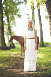 dress,white,lace,maxi,belt,necklace,headband,cute,trendy,ivory,bustier,jewelry,shoes,sexy,pretty,cool,boho,bohemian,free,people,anthropologie,mod cloth,urban,outfit,summer,southern,country