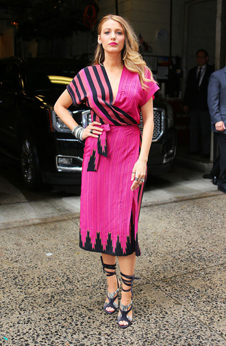 dress wrap dress pink blake lively sandals midi dress
