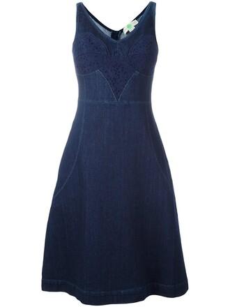 dress denim lace blue