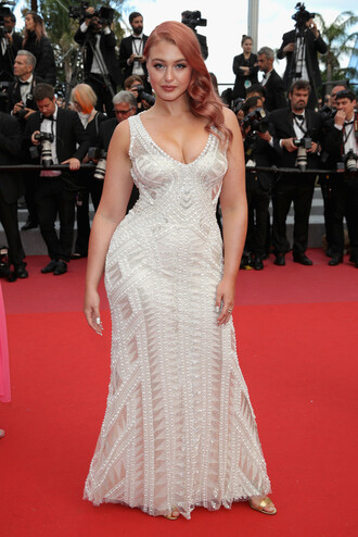 dress curvy plus size plus size dress red carpet dress red carpet iskra lawrence cannes maxi dress gown prom dress model off-duty