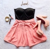 top,crop tops,necklace,black,skirt,heels,bustier,strapless,shoes
