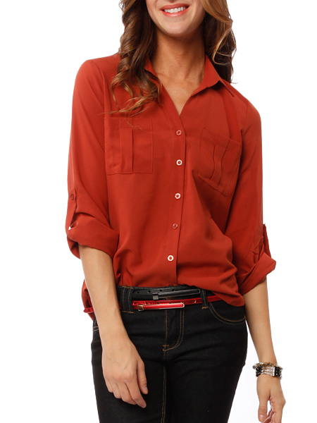 Papaya clothing online :: two pockets solid blouse