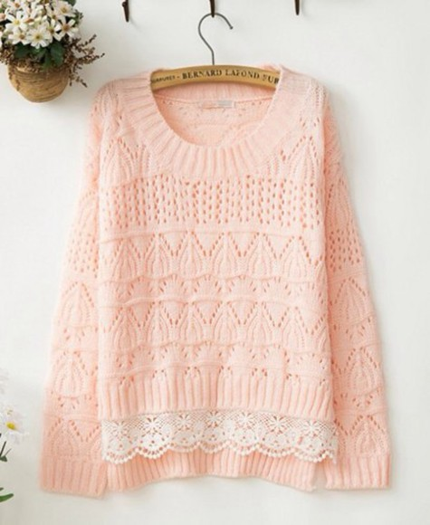 sweater oversized kfashion pastel pink