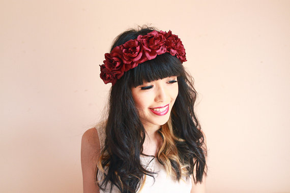burgundy wine rose crown  Valentines maroon floral от kisforkani