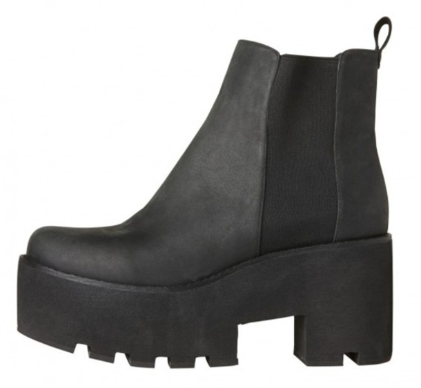 shoes black leather chunky sole platform shoes alien grunge