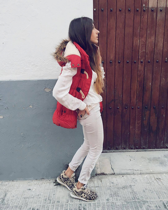shoes new balance sneakers low top sneakers leopard print leopard print sneakers denim jeans white jeans jacket red jacket vest duffle coat sweater