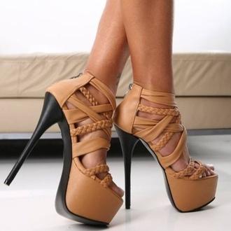 shoes plateau high heels leather braided heels