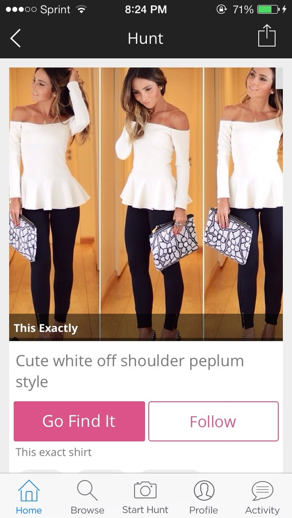 blouse white peplum black pattern pattern clutch bag spring outfit spring outfits off shoulder peplum