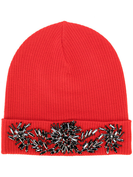 embellished hat beanie red