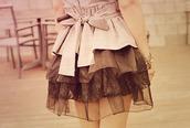 dress,layers,skirt,lace,tan,brown,chiffon