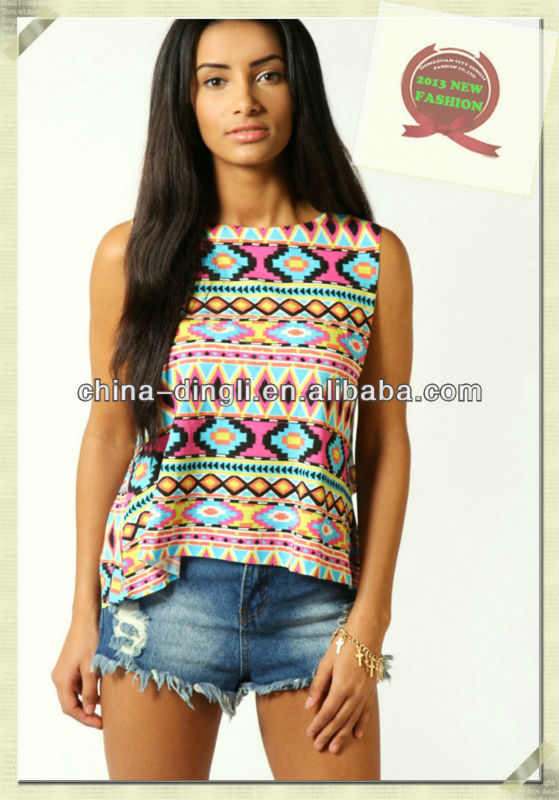 2014 Latest Round Neck Sleeveless Aztec Printed Summer T-shirt - Buy 2014 Lastes Summer T-shirt For Lady,Ladies Casual Tops In Summer,Aztec Printed T-shirts Product on Alibaba.com