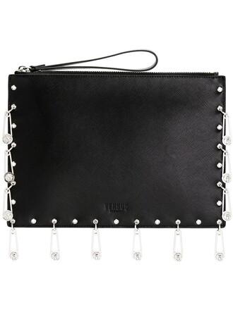 women embellished clutch leather black bag