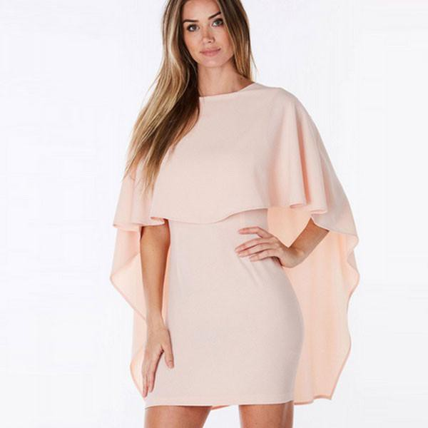 Pink Backless Bodycon Cape Dress