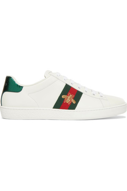 gucci embroidered sneakers leather white shoes