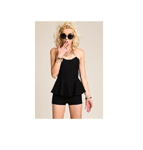 Black Stapless Peplum Romper | eBay