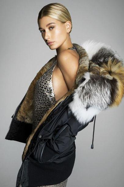 jacket dress gold hailey baldwin editorial fur jacket