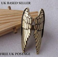 *new* antique bronze angel wings open ring costume jewellery shield adjustable