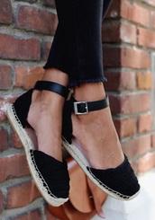shoes,espadrilles,ankle strap,black,fashion