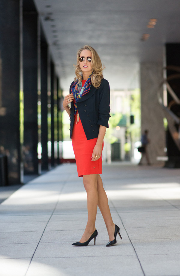 the classy cubicle jacket jewels scarf sunglasses