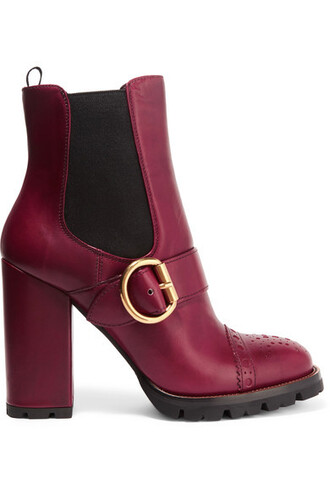 boots platform boots leather burgundy shoes