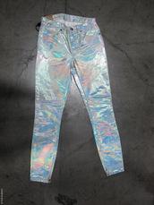 pants,shiny,latex?,jeans,pearl,rainbow,rainbow shirt