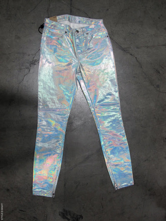 pants shiny latex? jeans pearl rainbow rainbow shirt