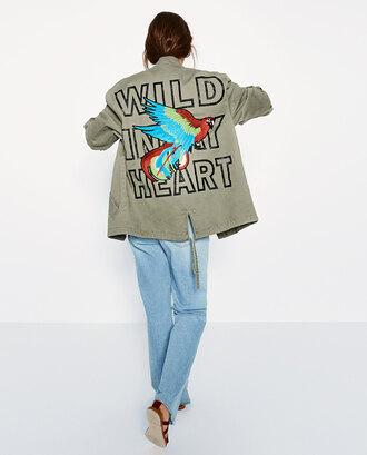 jacket military style parka parrot grey jacket