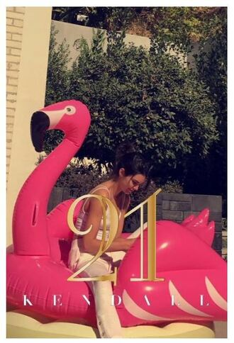 home accessory flamingo pool accessory pool party kendall jenner snapchat