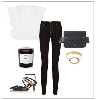 a portable package blogger skinny jeans candle white top bracelets gold jewelry pointed toe date outfit