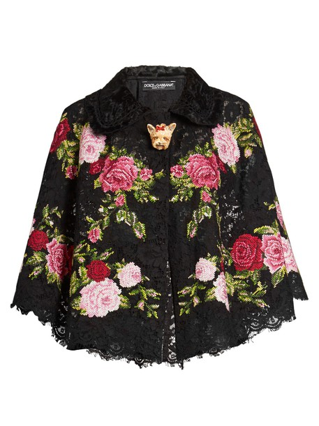 Dolce & Gabbana cape embroidered lace floral black top