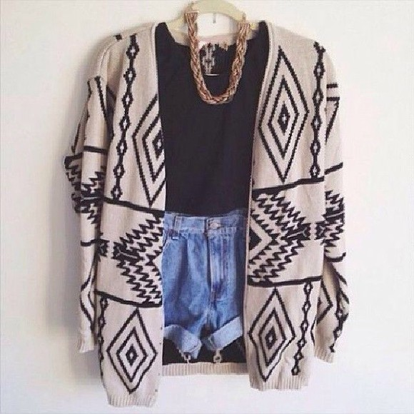 cardigan gold necklace aztec sweater