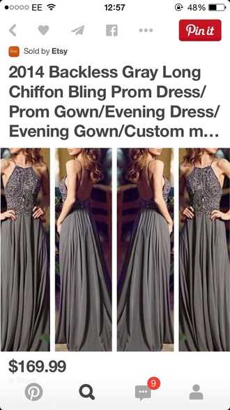dress grey dress beading prom dress backless prom dress
