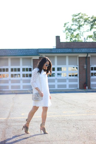 refined couture blogger dress shoes bag sunglasses white dress long sleeves animal print mini bag mini dress lace dress grey heels lace up