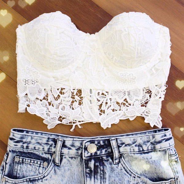 blouse lace lace top lace bustier lace bralette white lace crop bralette top crop tops strapless