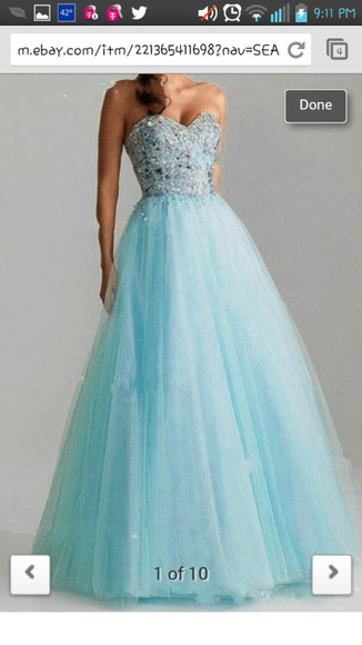dress tulle prom light blue crystal formal